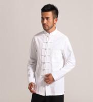 chemises en lin blanc achat en gros de-Blanc Hommes Coton Lin À Manches Longues Kung Fu Chemise Classique De Style Chinois Vêtements De Tang Taille S M L XL XXL XXXL Hombre Camisa