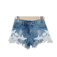 женские шорты лето оптовых-Hot Selling Summer Women Fashion Sexy Lace Flower Stitching Short Jeans Female Denim Shorts Girls Tassel Washed Jean Pants