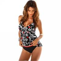 biquíni senhora tankini venda por atacado-Femme biquíni conjunto knit tankini mulher leopardo swimsuit senhora push up esporte beachwear floral banho swimwear 30xh v