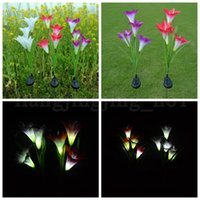 Wholesale solar plastic flowers - 4 Heads Solar Power Lily Flower LED Light Solar Lamp Yard Lawn Lamp Outdoor Lighting Lights Garden Decorations OOA5238