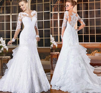 Wholesale tail dresses images online - 2018 White Elegant Sheer Neck Lace Mermaid Wedding Dresses Appliques Illusion Long Sleeves Fish Tail Plus Size Custom Made Bridal Gowns