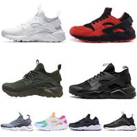 mejor zapatilla de malla para correr al por mayor-Nike Air Huarache Mejores Huarache ultra run 4.0 1.0 Zapatillas de running para hombres mujeres Triple Negro Blanco Red rainbow Mesh men Zapatillas de deporte de diseño