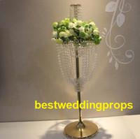 tazones de araña al por mayor-Nuevo estilo Colgante de cristal acrílico con cuentas, mesa de boda, pieza central de araña con flor bowl best0183
