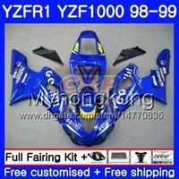 98 r1 fairing mavi toptan satış-YAMAHA YZF R 1 YZF 1000 YZF1000 Blue Go İçin Kaporta! Stok YZFR1 98 99 Çerçeve 235HM.5 YZF-1000 YZF-R1 98 99 Gövde YZF R1 1998 1999 Fairing