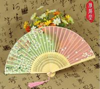Wholesale hand fan silk bamboo resale online - Wedding Silk female fan Folding bamboo hand fan Japanese folding fan wedding silk decoration pure handmade