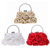 white rose clutch 2018 - Women Satin Clip Rose Wristlets Chain Evening Party Clutch Shoulder Handbag