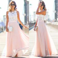 Wholesale Pink Sundress Women - Women Sexy Summer Dress Boho Maxi Long Patchwork Sleeveless Party Beach Dress Sundress Women Clothing
