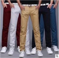 erkekler için moda ayakkabı kot toptan satış-2018 Yeni Varış Erkekler Tasarımcı Marka Düz Pantolon Moda Rahat Ince Özel Fit Şeker Sıska Denim Kalem Kot H0290