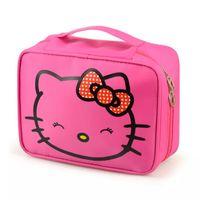 organizador hello kitty venda por atacado-Olá Kitty Cosméticos Saco Da Menina Bonito Viagem Organizador de Maquiagem Caso Beautician Beleza Mala Acessórios Suprimentos Produtos