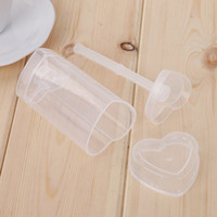Wholesale cake push up pops - Cake Push Up Pop Clear Love Heart Shaped Ice Cream Molds Hygienic Removable Plastic Cupcakes Container Popular 0 59sj YB