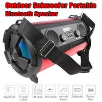 Wholesale New outdoor portable bluetooth speaker W subwoofer multi function card microphone radio wireless speakers