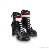 ingrosso stivali neri della piattaforma invernale del cuneo-2019 Marchio di moda donna Martin Stivaletti in nero Chunky Heel Platform Knight Motorcycle Cow Designer in pelle stivali invernali Taglia 35-40
