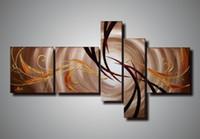 lona da natureza da pintura a óleo venda por atacado-100% handpainted 5 peças canvas grupo pintura a óleo da lona arte citações de beleza belas pinturas a óleo sobre tela de arte da natureza pintura decoratio