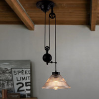 Wholesale industrial kitchen lighting pulleys resale online - Single head glass cover pulley telescopicPendant Lights Retro Pendant Lamps industrial iron cafe restaurant Home lighing G163