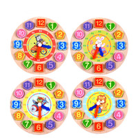 Wholesale wooden clock puzzle - Kids Learning & Education Toys Models Puzzles 1Pcs Set Animal Cartoon Toys For Children Educational Digital Wooden Clock Beaded Toys
