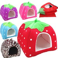 Wholesale Dog Kennel Puppy - Strawberry shape Soft Cat Dog House Cute Foldable Corduroy mini pet Bed warm Animal Cave Nest Puppy Dog Kennel Cute Pet Cat Dog House