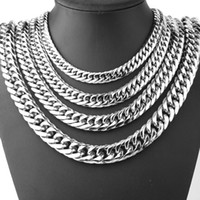 "15мм ожерелья из нержавеющей стали оптовых-9/13/15mm Men's Fashion Cool Silver Stainless Steel Bling Curb Necklace Chain 8""-40"" Top Quality"