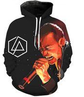 linkin park suéter venda por atacado-Mais recente Moda Feminina / Homens Linkin Park Chester Bennington Estilo Harajuku Engraçado 3D Impressão Casual Hoodies Unisex Plus Size KK244
