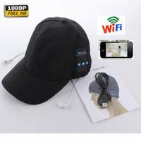 Wholesale video webcam online - New HD P Cap Camera WiFi Remote Mini Camera Bluetooth Headset Music Play Video Recorder P PC Webcam Out Door Sport Camera