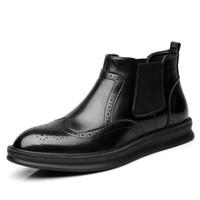 ingrosso stivali da lavoro oxford-Scarpe eleganti da uomo Punta rotonda Scarpe da lavoro Oxford da lavoro Formali Scarpe da uomo High Top Tacco basso Stivaletti Scarpe