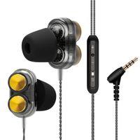 driver mp3 venda por atacado-Hangrui fones de ouvido para xiaomi dual driver com microfone gaming headset mp3 audi fone de ouvido de campo de ouvido fone de ouvido auriculares esporte