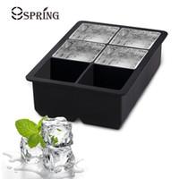 ingrosso stampo di cubo di silicone-Vassoi quadrati del cubo di ghiaccio della muffa del grande cubo del ghiaccio del silicone 6 grande creatore della palla di ghiaccio per la barra del cioccolato del cocktail Accessori della cucina della muffa