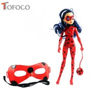 Wholesale Ladybug Lights - TOFOCO New 27CM Light Music Miraculous Ladybug And Cat Toy Lady Bug Doll With Mask Cosplay Birthday Gifts Toys For Children