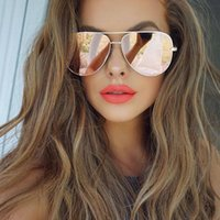 Wholesale trendy shades - Luxury Sunglasses for women Retro Vintage mirror shades mens pink sunglasses rose gold sun glasses female 2018 new trendy quay eyewear UV