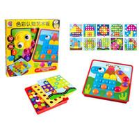 grandes brinquedos de plástico venda por atacado-Crianças Plástico Avião Jigsaw Puzzle Brinquedos Cor Cognition Grande Grampo Do Cogumelo Brinquedo Obstruído Bonito Melhorar A Inteligência 18 8 hs W