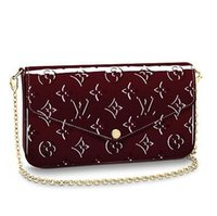 Wholesale navy pocket squares online - M61267 POCHETTE FÉLICIE navy red Real Caviar Lambskin Chain Flap Bag LONG CHAIN WALLETS KEY CARD HOLDERS PURSE CLUTCHES EVENING