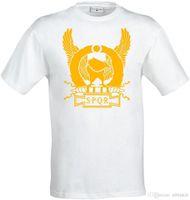 nuevos diseños de la camisa amarilla al por mayor-Nuevo estilo de diseño de moda T ShirtSPQR Roman Empire Yellow Eagle Artwork camiseta para hombre (mujer disponible) blanca