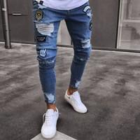 calça jeans masculina jeans venda por atacado-Calças de Brim dos homens Rasgado Skinny Jeans Designer de Moda Mens Shorts Jeans Magro Motocicleta Moto Motociclista Causal Mens Denim Calças Hip Hop MJ001