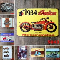 arte da parede da motocicleta venda por atacado-20 * 30 cm Da Motocicleta Do Vintage Artesanato de Lata de Sinal Retro Pintura De Metal Antigo Ferro Cartaz Bar Pub Sinais de Arte Da Parede Adesivo CCA9756 50 pcs
