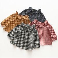 Wholesale black ruffle collar blouse - 2018 INS spring NEW arrival Girls Kids ruffles collar long Sleeve plaid print shirt kids causal high quality cotton shirt
