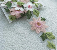 işlemeli dantel kesimi toptan satış-5 yard Güzel Işlemeli Çiçek Dantel Şifon Kumaş Trim Dikiş Craft Için DIY Gelin Elbise Bebek Bebek Giysileri