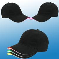 leichte baumwollkugeln groihandel-LED Baseball Caps Baumwolle Schwarz Glänzende LED Licht Ball Caps Glow In Dark Einstellbare Hysteresenhüte Leucht Partyhüte