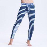 Wholesale thin thermal leggings online - Brand men thermal underwear men s long johns striped warm pants underwear men thin comfortable leggings size m l xl xxl