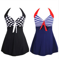 swimsuit listrado venda por atacado-Sexy listrado plus size acolchoado azul marinho halter vestido swimwear mulheres one-piece swimsuit beachwear maiô M-4XL