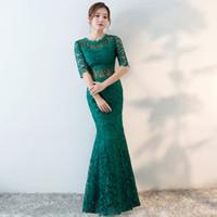 yeşil çince cheongsam elbiseleri toptan satış-Modern Çin Gelinlikler Geleneksel Qipao Yeşil Dantel Cheongsam Tasarım Akşam Elbise Balık Elbiseler Vestido Oryantal Qi Pao