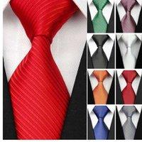siyah ipek kravatlar erkekler toptan satış-Erkekler için yeni Geniş Ipek Kravatlar Çizgili Katı 10 cm erkek Kravatlar Iş Kırmızı Düğün Suit Boyun Kravat Siyah Beyaz Mavi Gravatas