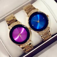 relojes de diamantes púrpura al por mayor-2018 Relojes de moda con diamantes, oro, púrpura, azul, mujeres de lujo, relojes de oro, relojes de pulsera de acero inoxidable, marca, reloj femenino.