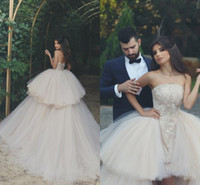 Wholesale strapless top wedding gowns resale online - New Arabic Ball Gown Wedding Dresses Strapless Backless Sweep Train Tiered Lace Top Puffy Hi Lo Garden Country Bridal Gowns