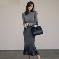 Wholesale Wear Sweater Dress - Women Two Piece Set 2018 Autumn Winter Pullover Sweater + Fishtail Skirt Two Piece Suit Long Sleeve Office Wear Knitted Clothing