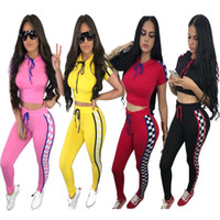 Wholesale cycling jersey set long sleeve women online - 2018 summer Hooded women s Tracksuits print outfits Sweatshirts short sleeve top and long Pants Pieces Set Lady Sportwear casual playsuit
