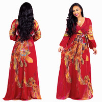 Wholesale fat dresses resale online - Good Quality Chiffon Print Dresses Sex Deep V Neck Hippie Printing Female Casual Long sleeve fat women plus size Xl xl xl dress