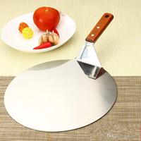 herramienta de pala portátil al por mayor-Pala de pizza de acero inoxidable Mango de madera Pastel circular grande Pala portátil Hornear Herramientas de pastelería Anti escaldadura Bardian 15hh2 bb