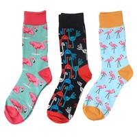 habillement décontracté pour les hommes achat en gros de-Coton Peigné Coloré Van Gogh Rétro Argyle Flamingos Hommes Chaussettes Cool Casual Dress Drôle Robe De Fête Équipage Chaussettes