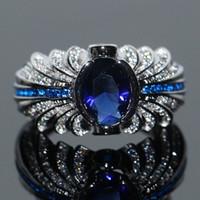 venda de anel azul venda por atacado-Anel dos amantes para homens jóias de luxo Top Selling marca Desgin 925 prata esterlina azul safira CZ diamante pedras preciosas Animal anel de casamento conjunto
