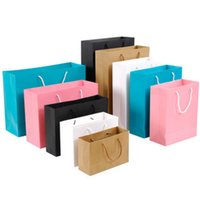 Wholesale custom printed paper bags wholesale - 10pcs Gift Paper Bag Custom Gift Clothing Shopping Bag Kraft Paper Spot Printing Logo Solid Color Black White Pink