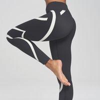 leggings de panel negro al por mayor-Nueva Llegada Negro Blanco Leggings de Fitness Mujeres Leggings de Rayas Fitness Flaco Legging Sporting Pantalones de Entrenamiento Pantalones de Chándal